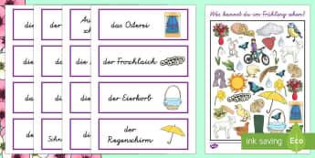 I Spy Activity Sheet - German - Frühling, Suchbilder, DAZ, DAF. ,German, Easter , plants, growth