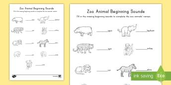 Zoo Animals Beginning Sounds Activity Sheet - Early Childhood Animals, Animals, Pre-K Animals, K4 Animals, 4K Animals, Preschool Zoo Animals, begi