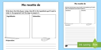 My Recipe for Writing Activity Sheet French - Pancake Batter, Recipe, KS1, food, cooking, reading, crepe,crêpes.
