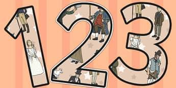 Oliver Twist Themed Display Numbers - oliver twist, display, numbers