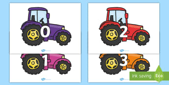 Numbers 0-31 on Tractors - 0-31, foundation stage numeracy, Number recognition, Number flashcards, counting, number frieze, Display numbers, number posters