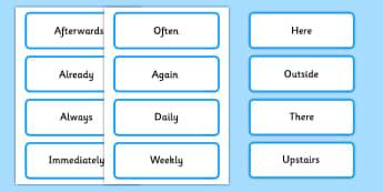 Fronted Adverbials Labels - fronted adverbials, fronted, adverbials, labels, display
