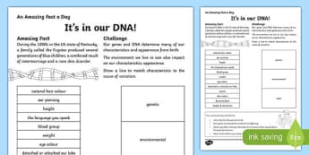 It's in our DNA! Activity Sheet, worksheet