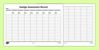 ROI Gaeilge Assessment Record