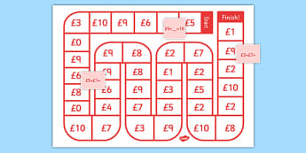 Self-Checking Money Calculations Board Game - self-checking, money, calculations, board game, board, game