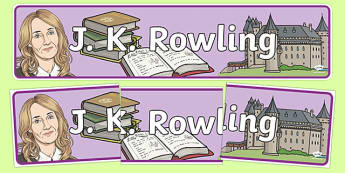 J K Rowling Display Banner - j k rowling, harry potter, magic, wizards, hogwarts, hermione granger, ron weasley, book, novel, story, display banner