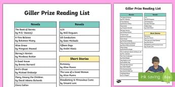 Giller Prize Book List