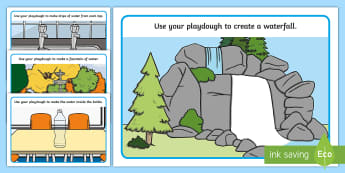 Water Everywhere Playdough Mats - EYFS, Water, water cycle, rain, rivers, sea, oceans, fine motor, taps, sink, fountain, bottle