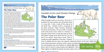 Canada's Arctic: Climate Change and how it Affects the Polar Bear Fact File - Earth Day, climate change, fact file, science and technology, social studies, geography, Junior grad