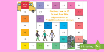 Subtraction Bus Board Game English/Polish - games, route, timetable, bus, numbers, translated