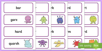 Alien 'ar' Word Cards - real, nonsense, phase 3, phonics screening, screening check, test, pseudo words, monster