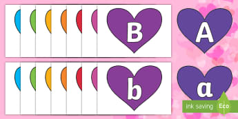 A-Z Alphabet on Hearts (Multicolour) Cut-Outs - EYLF, Valentines Day, Alphabet display,Australia, hearts, lettering, alphabet, upper case, lower cas