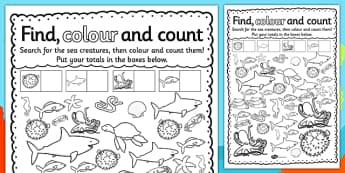 Under the Sea Find Colour and Count Activity Sheet - activities, worksheet
