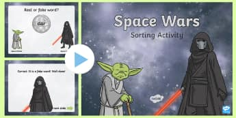 Phase 3 Nonsense or Real Words Space Wars Powerpoint Game - phonics, phase three, real words, alien words, phonics screening check, digraphs, trigraphs, phoneme