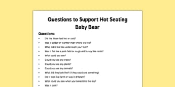 Hot Seating Baby Bear Quiz Cards to Support Teaching on Whatever Next!