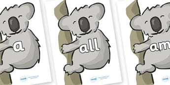 Foundation Stage 2 Keywords on Koalas - FS2, CLL, keywords, Communication language and literacy,  Display, Key words, high frequency words, foundation stage literacy, DfES Letters and Sounds, Letters and Sounds, spelling
