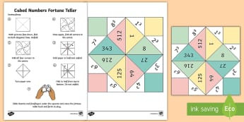 Cubed numbers Fortune Teller Activity Sheet - Fortune Teller - cubed numbers, times table, fortune teller, activity, craft, fold,Timw, worksheet,