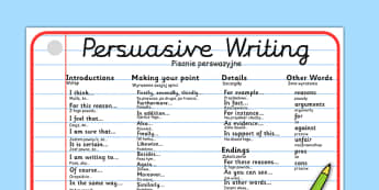 Persuasive Writing Word Mat Polish Translation - polish, writing, write, word mat, keywords