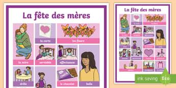 Grille de mots : La fête des Mères - La Fête des Mères, mère, fête, Mother's Day UK,French