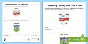Tipperary County and GAA Crest Activity Sheet - GAA Football All-Ireland Senior Championship,worksheet, GAA Hurling All-Ireland Senior Championship,