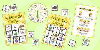 y Sound Bingo Game with Spinner - y sound, sound, sounds, bingo