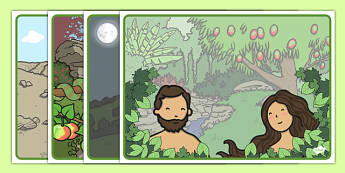 Adam and Eve Creation Story Sequencing - Adam, Eve, Eden, serpent, fruit, earth, garden, creation, creation story, sequencing, story sequencing, story resources, A4, cards, paradise, sea creatures, birds, stars, moon, sun, tree, evil, knowledge, anim