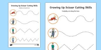 Growing Up Cutting Skills Activity Sheet, worksheet