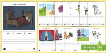Simple Sentences Activity Sheets - Sentence Structure, Writing, Common Core, Kindergarten, worksheets