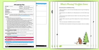 What's Missing Game to Support Teaching on The Gruffalo EYFS Adult Input Plan and Resource Pack - EYFS, Early Years planning, adult led, Julia Donaldson, Listening and attention, C&L, Kim's Game