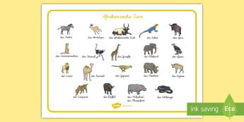 Afrikanische Tiere Wortschatz: Querformat - Afrika, afrikanisch, Tiere, Safari, Wildtiere, Löwe, Leopard, Giraffe, Nashorn, Tiere in Afrika,Ger