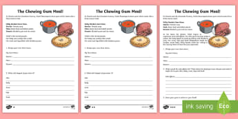 The Chewing Gum Meal Writing Activity Sheet - NI  Literacy, Charlie and the chocolate factory, Willy Wonka, reading, Charlie and the glass elevato