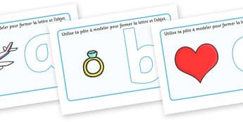 Alphabet Playdough Mats (French) - Playdough mat, playdough resources, literacy, alphabet, letters, playdough