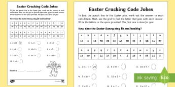 Easter Joke Multiplication Code Breaker Activity Sheet - NI, Easter, numeracy, maths, code, times tables, multiply, multiplication, times, lots of, jokes, co
