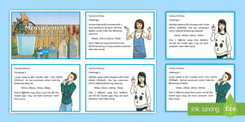 Capacity Challenge Cards - using and applying, mastery, fluency, problem solving, litre, millilitre