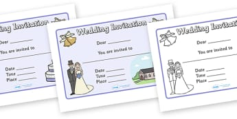 Design a Wedding Invitation - Wedding, Weddings, fine motor skills, colouring, designing, activity, marriage, bride, groom, church, priest, vicar, dress, cake, ring, rings, bridesmaid, flowers, bouquet, reception, love