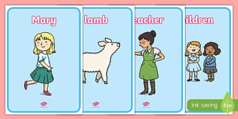 Mary Had a Little Lamb Display Posters - mary had a little lamb, nursery rhyme, rhyme, display posters