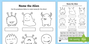 Phase 5 Phonics Name the Alien Activity Sheet - phonics screening, phonics, phase five, reading, grapheme, phoneme, alien words, nonsense words,