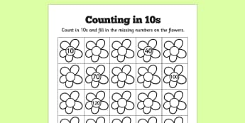 Counting in 10s Flowers Worksheets - counting, 10, flowers, sheet