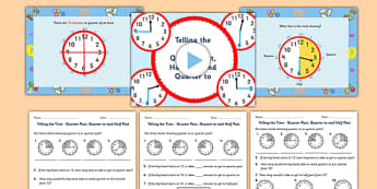 Telling the Time Quarter Past Half Past Quarter to Task Setter Powerpoint and Worksheets - telling the time, minutes, task setter, powerpoint, worksheets