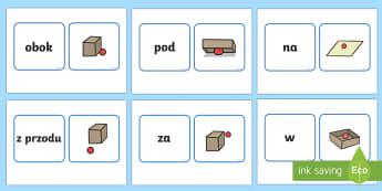 Karty Słowa opisujące położenie - góra, dół, obok, za, na, w, przyimki, części, mowy, Polish