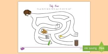 Tidy Kiwi Maze Activity - tidy kiwi, New Zealand, rubbish, recycling, Years 1-6, maze, activity