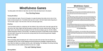 Mindful Me: Mindfulness Games Teaching Ideas - Mindfulness