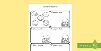 Draw the Weather Activity Sheet - weather, drawing, activity, seasons, comprehension worksheet