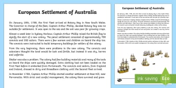 European Settlement of Australia Historical Factual Recount Writing Sample - Literacy, European Settlement of Australia Historial Factual Recount  Writing Sample, year 3, year 4
