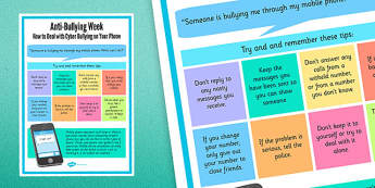 Anti-Bullying Week: How to Deal With Cyber-Bullying on Your Phone Poster - anti-bullying, phone