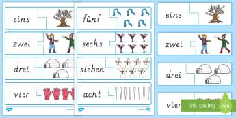 Winter: Bilder und Zahlwörter 1 bis 10 Memory Karten - Zahlen, Zahlwörter, 1 bis 10, Memory ,German