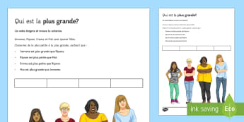 Énigme : Qui est la plus grande ? - french, Reading, lecture, size, taille, personal identification, comparatives, comparisons, comparaisons, comparatifs