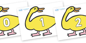 Numbers 0-31 on Yellow Duck to Support Teaching on Brown Bear, Brown Bear - 0-31, foundation stage numeracy, Number recognition, Number flashcards, counting, number frieze, Display numbers, number posters