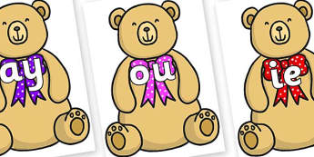 Phase 5 Phonemes on Bow Tie Teddy - Phonemes, phoneme, Phase 5, Phase five, Foundation, Literacy, Letters and Sounds, DfES, display