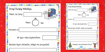 Szablon List do Świętego Mikołaja - Święta, mikołaj, gwiazdor, święty, list, pisanie, pisać, napisz, prezenty, listu, gwiazdka, bo